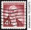 UNITED STATES OF AMERICA - CIRCA 1959: a stamp printed in the United States of America shows Dr. Ephraim McDowell, 150th anniversary of the 1st successful ovarian operation in the USA, circa 1959 - stock photo