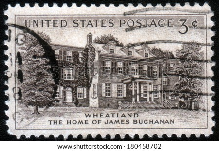 UNITED STATES OF AMERICA - CIRCA 1956: A stamp printed in the United States of America shows Home of James Buchanan in Wheatland, circa 1956