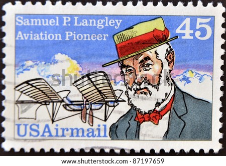 UNITED STATES OF AMERICA - CIRCA 1988: a stamp printed in the United States of America shows Samuel Pierpoint Langley, Astronomer, Aviation Pioneer and Inventor, circa 1988