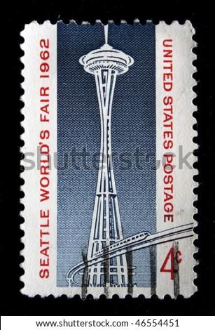 UNITED STATES OF AMERICA - CIRCA 1962: A stamp printed in the United States of America shows Space Needle, circa 1962 - stock photo