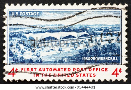 UNITED STATES OF AMERICA - CIRCA 1960: a stamp printed in the United States of America shows 1st automated Post Office, Providence, RI, circa 1960