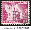 UNITED STATES OF AMERICA - CIRCA 1954: a stamp printed in the United States of America shows The Alamo mission, the place of pivotal event in the Texas Revolution 1836, circa 1954 - stock photo