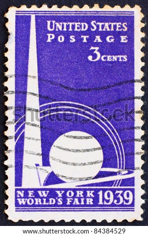 UNITED STATES OF AMERICA - CIRCA 1939: a stamp printed in the United States of America shows Trylon and Perisphere from New York World's fair 1939, circa 1939 - stock photo