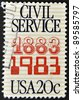 UNITED STATES OF AMERICA - CIRCA 1983: A stamp printed in the USA commemorates the 100th anniversary of the Civil Service, circa 1983 - stock photo