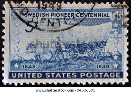 UNITED STATES OF AMERICA - CIRCA 1948: A stamp printed in the USA honoring Swedish Pioneer Centennial, circa 1948