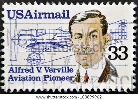 UNITED STATES OF AMERICA - CIRCA 1985: A stamp printed in the USA, shows Alfred V. Verville, circa 1985 - stock photo