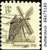 UNITED STATES OF AMERICA - CIRCA 1980: A stamp printed in the USA shows  Cape Cod windmill, Eastham, Massachusetts, circa 1980 - stock photo