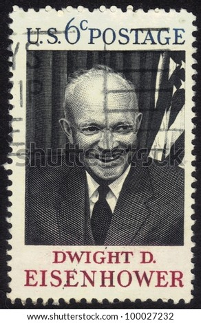 UNITED STATES OF AMERICA - CIRCA 1969 : A stamp printed in the USA shows Dwight D. Eisenhower, circa 1969