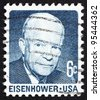 UNITED STATES OF AMERICA - CIRCA 1970: a stamp printed in the USA shows Dwight David Eisenhower, 34th President of US, 1953-61, circa 1970 - stock photo