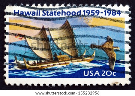 UNITED STATES OF AMERICA - CIRCA 1984: a stamp printed in the USA shows Eastern Polynesian Canoe, Golden Plover, Mauna Loa Volcano, 25th Anniversary of Hawaii Statehood, circa 1984