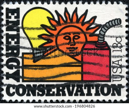 UNITED STATES OF AMERICA - CIRCA 1977: a stamp printed in the USA shows Energy Conservation, Conservation of Nation's Energy Resources, circa 1977 - stock photo