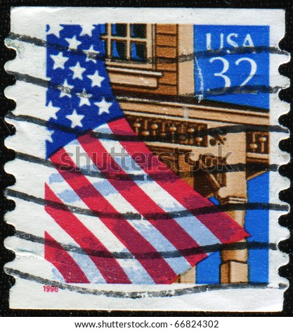 UNITED STATES OF AMERICA - CIRCA 1995: A stamp printed in the USA shows Flag Over Porch, circa 1995