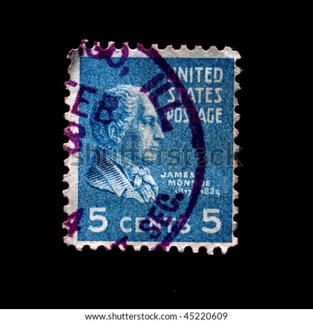UNITED STATES OF AMERICA - CIRCA 1934: A stamp printed in the USA shows image of President James Monroe, circa 1934