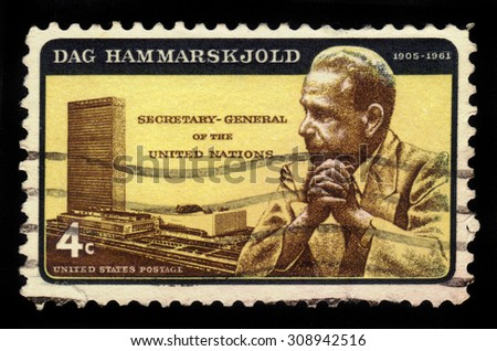 UNITED STATES OF AMERICA - CIRCA 1962: a stamp printed in the USA shows UN Headquarters and portrait of Dag Hammarskjold, second secretary-general of the United Nations, circa 1962 - stock photo