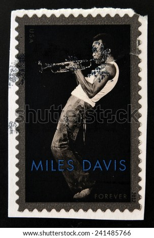 UNITED STATES OF AMERICA - CIRCA 2012: a stamp printed in USA showing an image of Miles Davis, circa 2012.  - stock photo