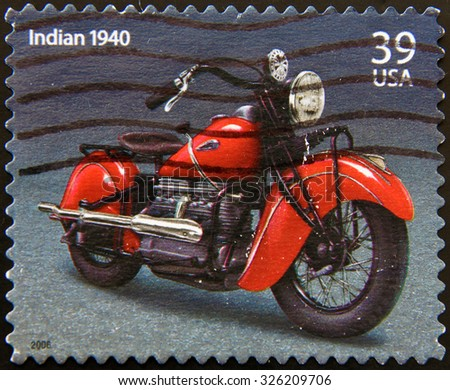 UNITED STATES OF AMERICA - CIRCA 2006: a stamp printed in USA showing an image of motorcycle Harley Davidson Indian 1940, circa 2006. - stock photo