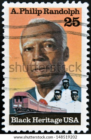 UNITED STATES OF AMERICA - CIRCA 1989: A stamp printed in USA, shows Asa Philip Randolph, Labor and Civil Rights Leader, Black Heritage, circa 1989  - stock photo