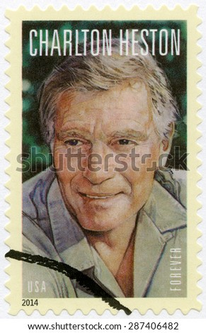 UNITED STATES OF AMERICA - CIRCA 2014: A stamp printed in USA shows Charlton Heston (1923-2008), series Legends of Hollywood, circa 2014 - stock photo
