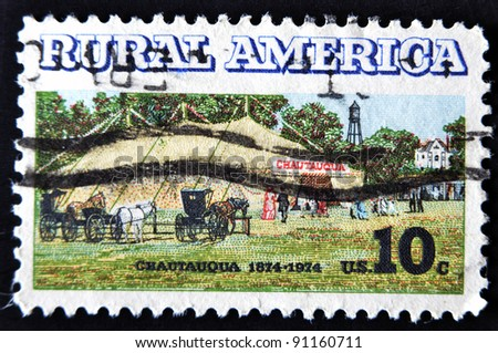UNITED STATES OF AMERICA - CIRCA 1974: A stamp printed in USA shows Chautauqua in reference rural america, circa 1974