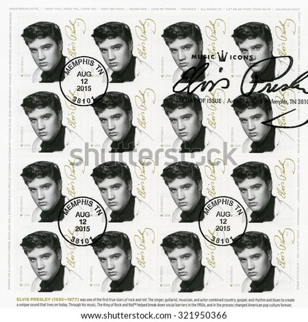 UNITED STATES Of AMERICA - CIRCA 2015: A stamp printed in USA shows Elvis Presley (1935-1977), the singer, guitarist, musician, Music Icons Series, circa 2015 - stock photo