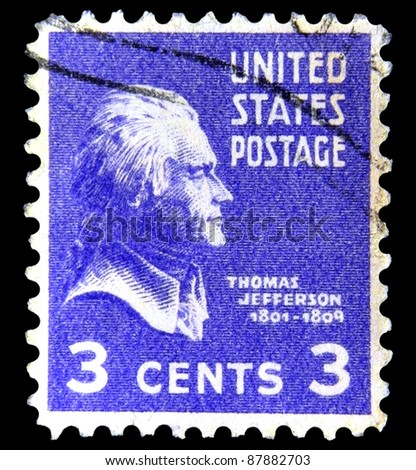 """UNITED STATES OF AMERICA - CIRCA 1938: A stamp printed in USA shows image of President Thomas Jefferson with the inscription """"Thomas Jefferson (1801-1809)"""" from the series """"US, President"""", circa 1938 - stock photo"""