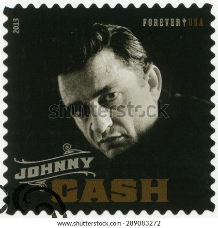 UNITED STATES OF AMERICA - CIRCA 2013: A stamp printed in USA shows J. R. Johnny Cash (1932-2003), series music icons forever, circa 2013 - stock photo