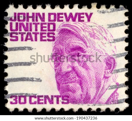 UNITED STATES OF AMERICA - CIRCA 1980: A stamp printed in USA shows John Dewey, an American philosopher, psychologist and educational reformer, circa 1980 - stock photo