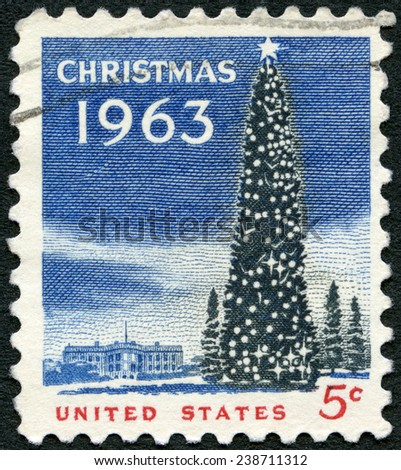 UNITED STATES OF AMERICA - CIRCA 1963: A stamp printed in USA shows National Christmas Tree and White House, circa 1963 - stock photo