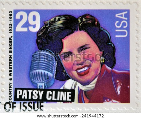 UNITED STATES OF AMERICA - CIRCA 1993: A stamp printed in USA shows Patsy Cline (country & western singer), circa 1993.  - stock photo
