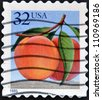 UNITED STATES OF AMERICA - CIRCA 1995: A stamp printed in USA shows peach, circa 1995 - stock photo