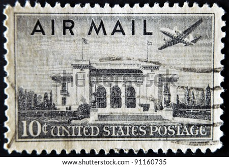 UNITED STATES OF AMERICA - CIRCA 1947: a stamp printed in USA shows plane over Pan American Union Building, Washington, DC, circa 1947