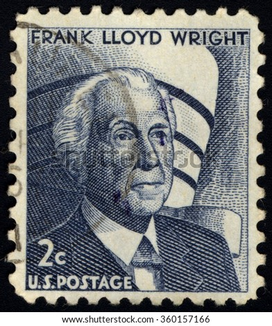 UNITED STATES OF AMERICA - CIRCA 1966: A stamp printed in USA shows Portrait of Frank Lloyd Wright - A famous American Architect, circa 1966. - stock photo