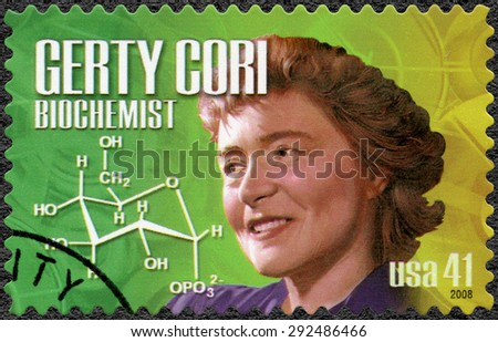 UNITED STATES OF AMERICA - CIRCA 2008: A stamp printed in USA shows portrait of Gerty Theresa Cori (1896-1957), biochemist, series American Scientists, circa 2008 - stock photo