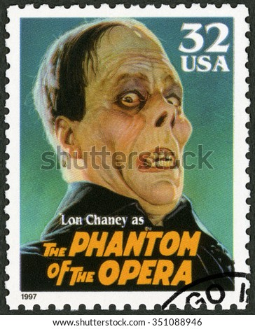 UNITED STATES OF AMERICA - CIRCA 1997: A stamp printed in USA shows portrait of Leonidas Frank Lon Chaney (1883-1930) as The Phantom of the Opera, series Classic Movie Monsters, circa 1997 - stock photo