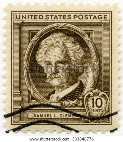 UNITED STATES OF AMERICA - CIRCA 1940: A stamp printed in USA shows Samuel Langhorne Clemens, Mark Twain (1835-1910), series famous Americans Authors, circa 1940 - stock photo
