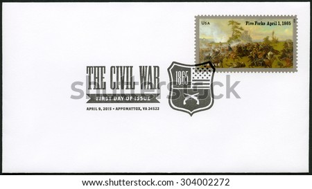UNITED STATES OF AMERICA - CIRCA 2015: A stamp printed in USA shows the Battle of Five Forks, near Petersburg, Virginia, on April 1, 1865, series The Civil War 1865, circa 2015 - stock photo