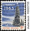 UNITED STATES OF AMERICA - CIRCA 1963- A stamp printed in USA shows the White House and the National Christmas Tree in Washington DC., circa 1963. - stock photo