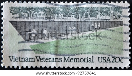 UNITED STATES OF AMERICA - CIRCA 1984: A stamp printed in USA shows Vietnam veterans memorial, circa 1984