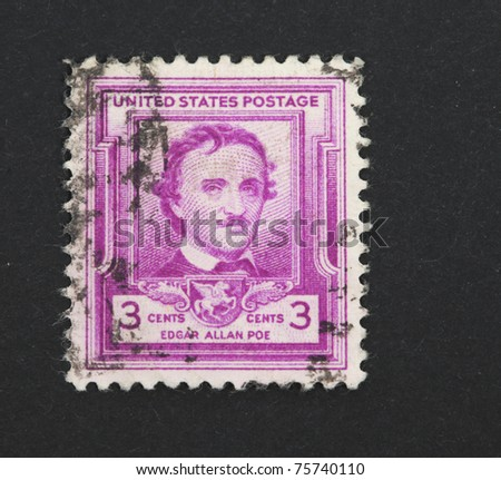 UNITED STATES OF AMERICA - CIRCA 1949: A stamp published in the USA shows image of Edgar Allen Poe, famous horror writer, circa 1949 - stock photo