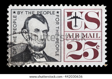 UNITED STATES OF AMERICA - CIRCA 1960: A used air mail postage stamp printed in United States shows the President Abraham Lincoln, circa 1960 - stock photo
