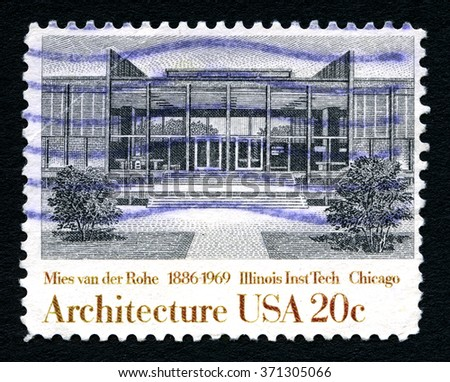 UNITED STATES OF AMERICA - CIRCA 1982: A used postage stamp from the United States of America, dedicated to architect Mies van der Rohe - the architect of Illinois Institute of Technology, circa 1982. - stock photo