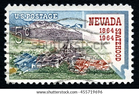 UNITED STATES OF AMERICA - CIRCA 1964: A used postage stamp from the USA, celebrating the 100th Anniversary of Nevada Statehood, circa 1964. - stock photo