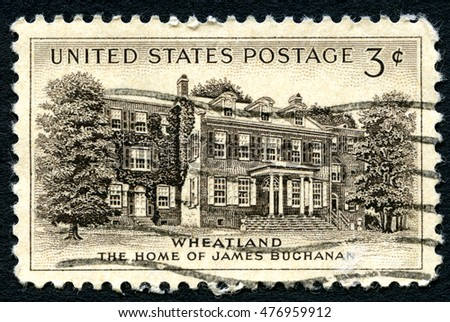 UNITED STATES OF AMERICA - CIRCA 1954: A used postage stamp from the USA, depicting an illustration of the home of James Buchanan, the 15th President of the United States, circa 1954.