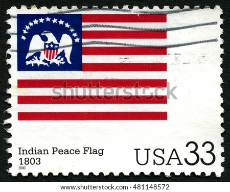 UNITED STATES OF AMERICA - CIRCA 2000: A used postage stamp from the USA depicting an illustration of the Indian Peace Flag, circa 2000.