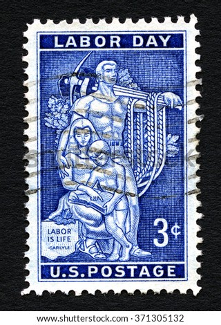 UNITED STATES OF AMERICA - CIRCA 1956: A used postage stamp printed in America, celebrating Labor Day, circa 1956. - stock photo