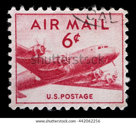 UNITED STATES OF AMERICA - CIRCA 1949: A used postage stamp printed in United States shows DC-4 Skymaster airplane in flight, circa 1949