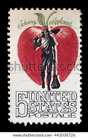 UNITED STATES OF AMERICA - CIRCA 1966: A used postage stamp printed in United States shows the pioneer Johnny Appleseed Chapman who introduced apple trees in North America, circa 1966 - stock photo