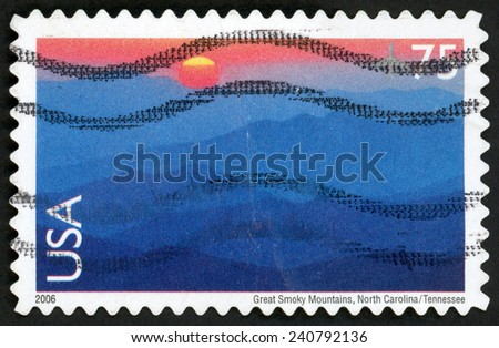 UNITED STATES OF AMERICA - CIRCA 2006: air post international stamp printed in USA shows Great smoky mountains national park at sunset, North Carolina, Tennessee; Scott C140 AP111 75c; circa 2006 - stock photo