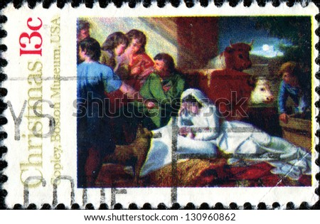 """UNITED STATES OF AMERICA - CIRCA 1976: Christmas stamp printed in the USA shows draw """"Madonna and Child"""" by John Copley from Boston Museum, circa 1976 - stock photo"""