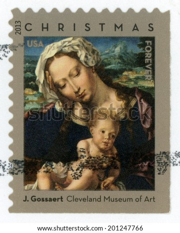 UNITED STATES OF AMERICA - CIRCA 2013: forever Christmas stamp printed in USA shows Virgin & child painting by Jan Gossaert; Cleveland Museum of Art; Scott 4815; circa 2013 - stock photo